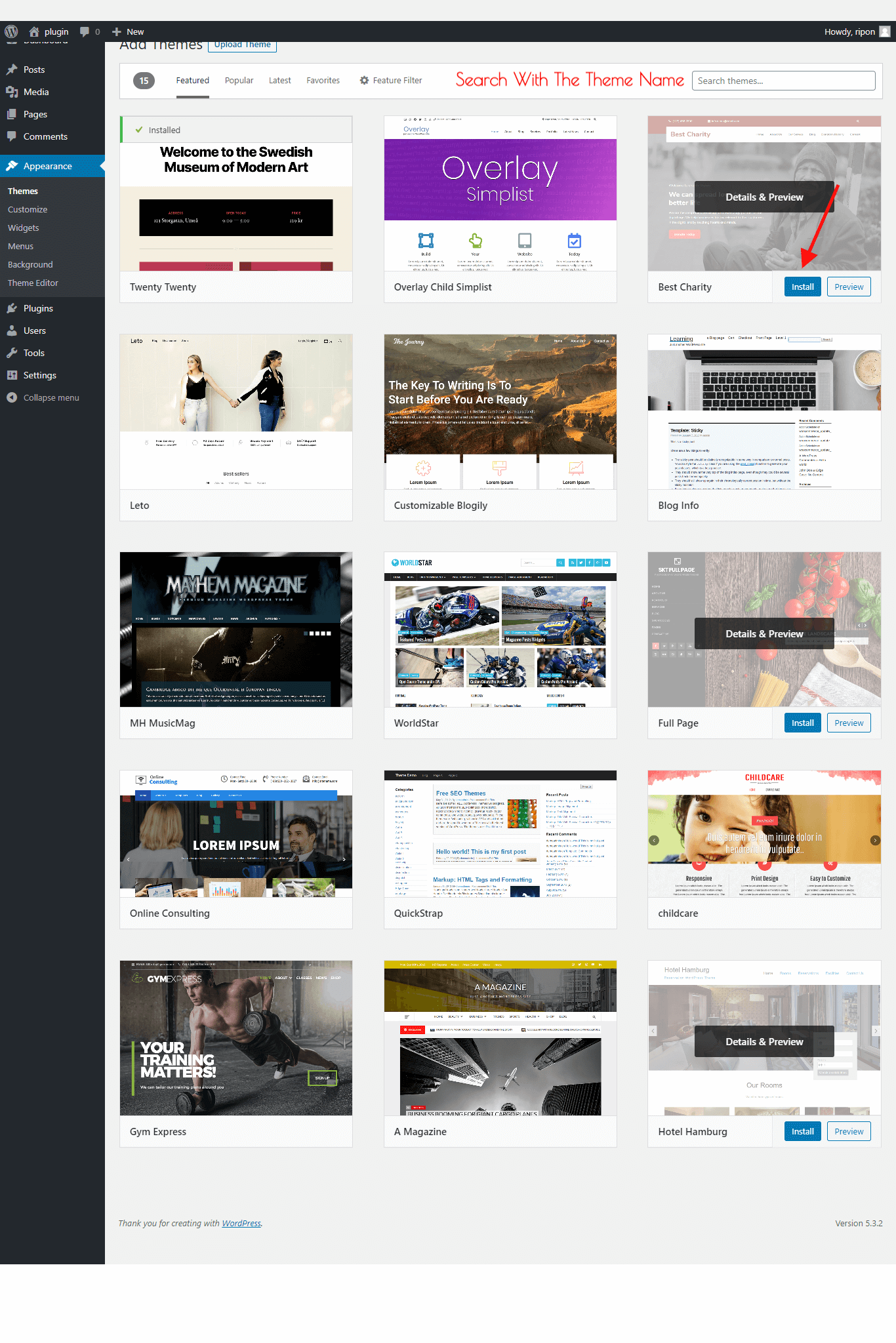 list of WordPress Theme