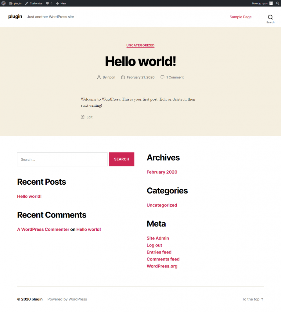 twenty twenty WordPress Theme Layout